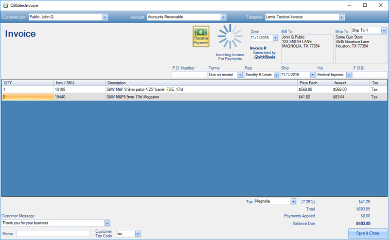 The Invoice Is Generated In QuickBooks And The Receive Payment Dialog Is  Displayed.