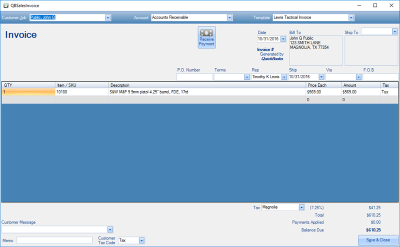 FFLTools - Quickbooks invoice accounts receivable